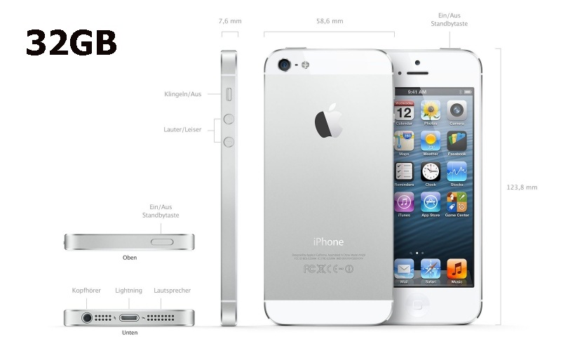 apple iphone 5 32gb weiss pda max. Black Bedroom Furniture Sets. Home Design Ideas