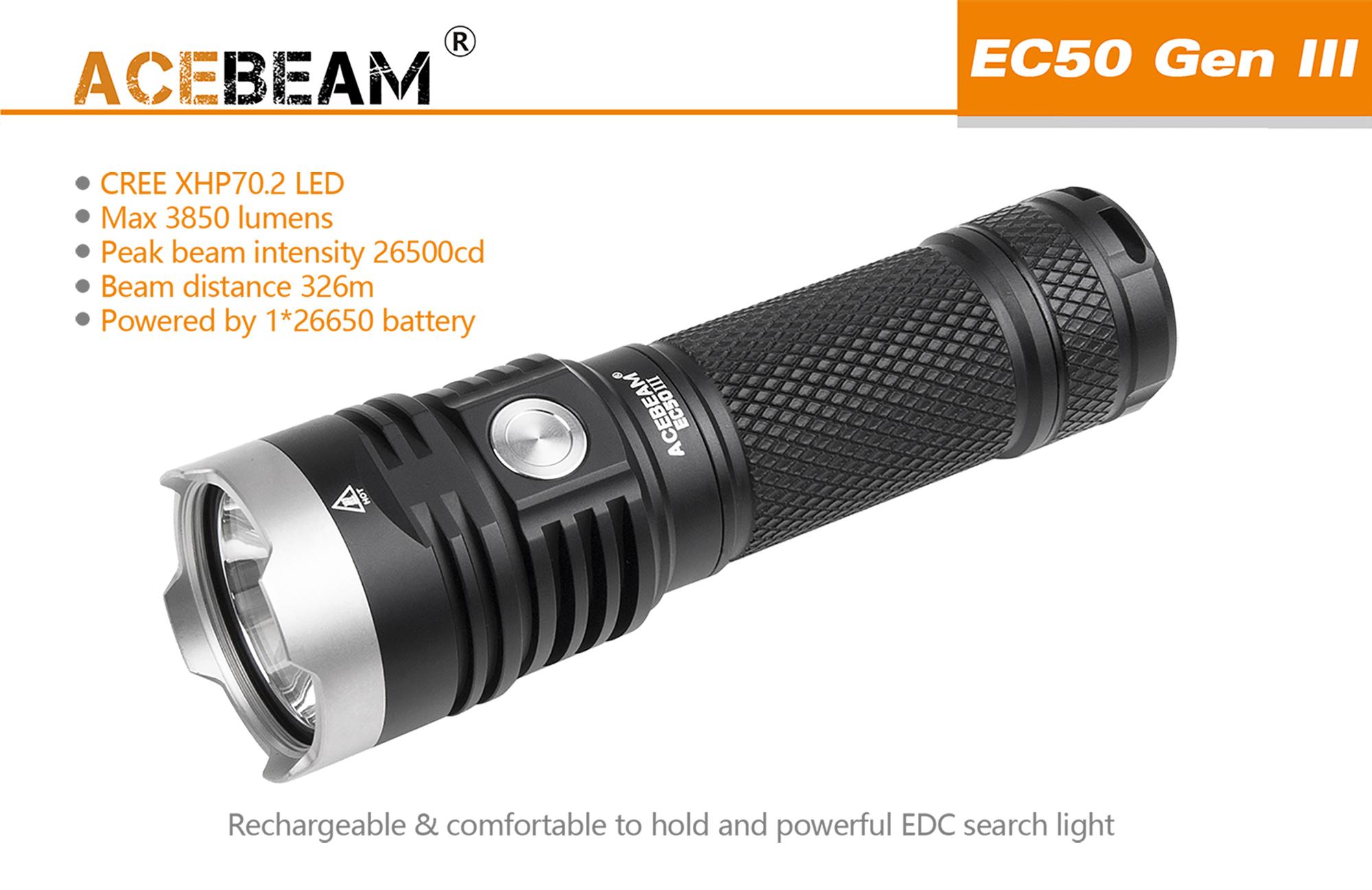 Acebeam EC50 GEN III cw - Wiederaufladbare LED Taschenlampe, 3850 ...