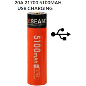 Acebeam IMR21700NP-510A-USB-C, 5100mAh, 3,7V, 20A Lithium Ionen Akku (Button Top) mit integrierter USB-C Ladefunktion
