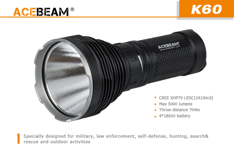 acebeam k60 schwarz led taschenlampe 5000 lumen cree. Black Bedroom Furniture Sets. Home Design Ideas