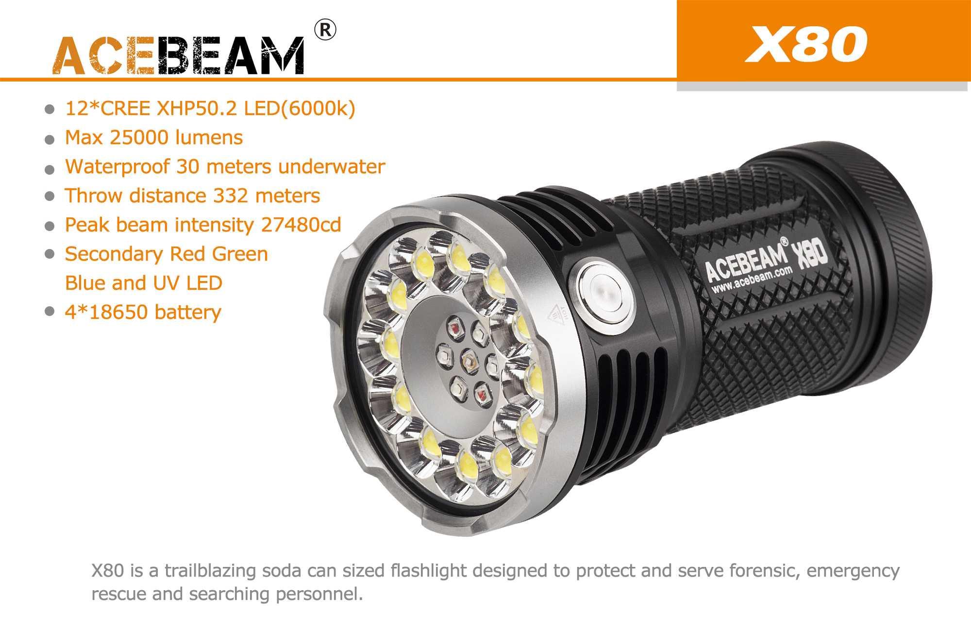 Acebeam X80 - LED Taschenlampe, 25000 Lumen, rot-grün-blau und ...