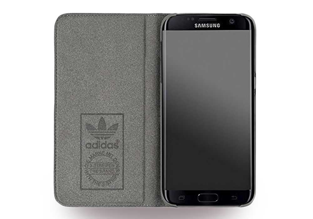 adidas basics book cover handytasche grau f r samsung galaxy s7 edge pda max. Black Bedroom Furniture Sets. Home Design Ideas