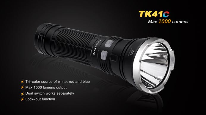 fenix tk41c led taschenlampe mit 1000 lumen und rot blau. Black Bedroom Furniture Sets. Home Design Ideas