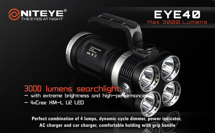 niteye eye40 led taschenlampe mit 3000 lumen pda max. Black Bedroom Furniture Sets. Home Design Ideas