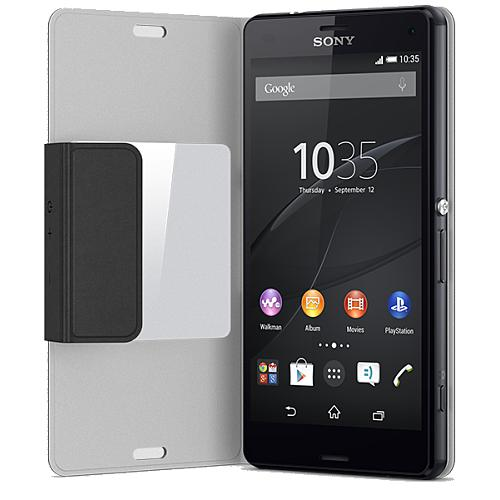 sony cover scr26 schwarz f r sony xperia z3 compact pda max. Black Bedroom Furniture Sets. Home Design Ideas